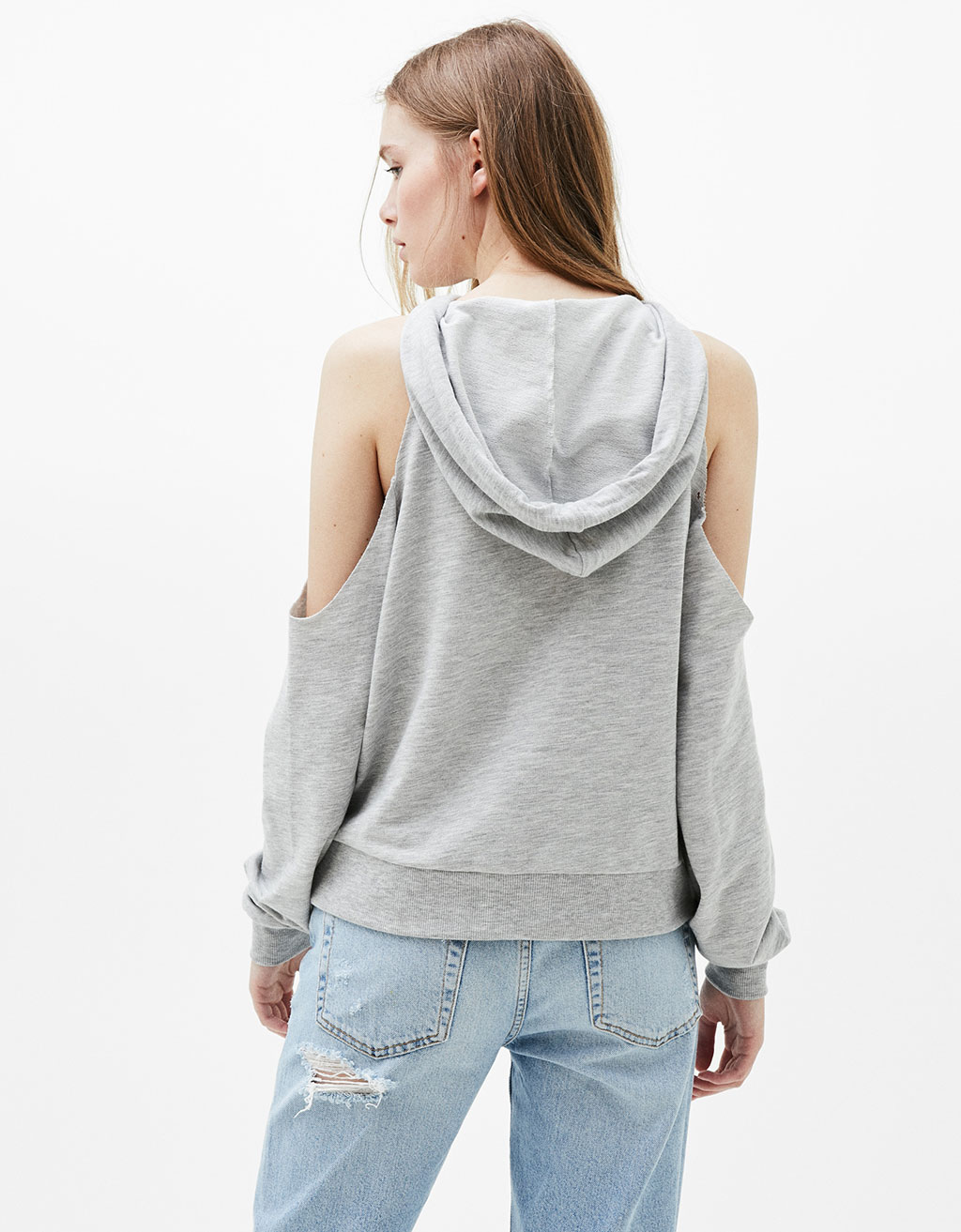 Off-the-shoulder hooded sweatshirt