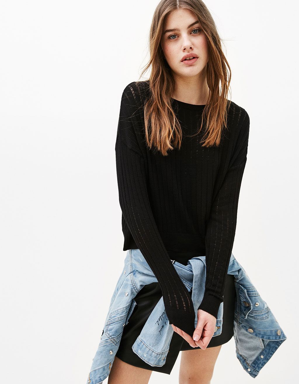 Openwork cropped sweater