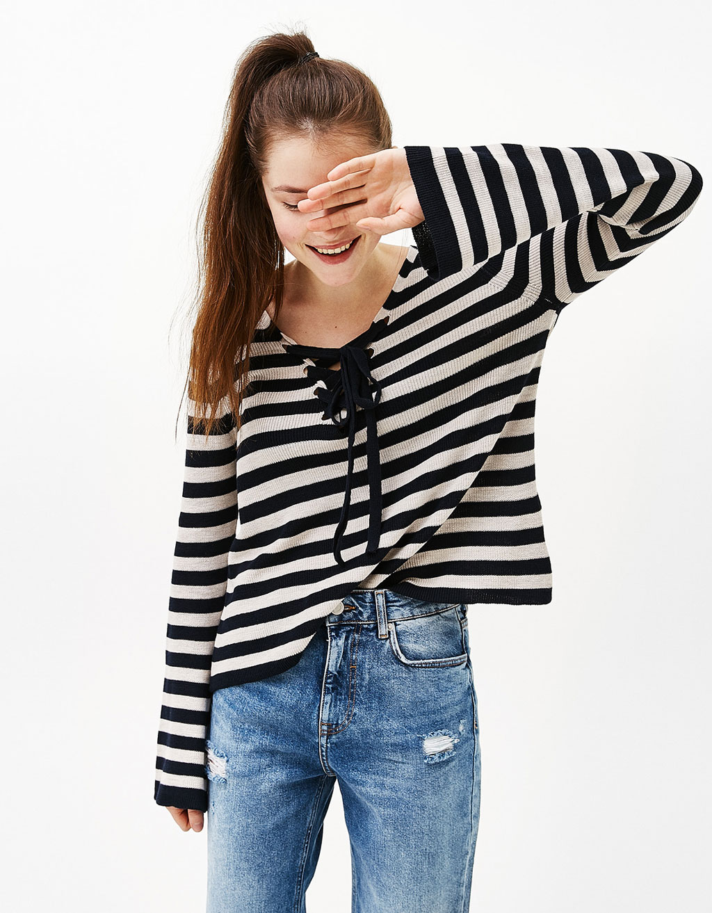 Striped sweater with bow