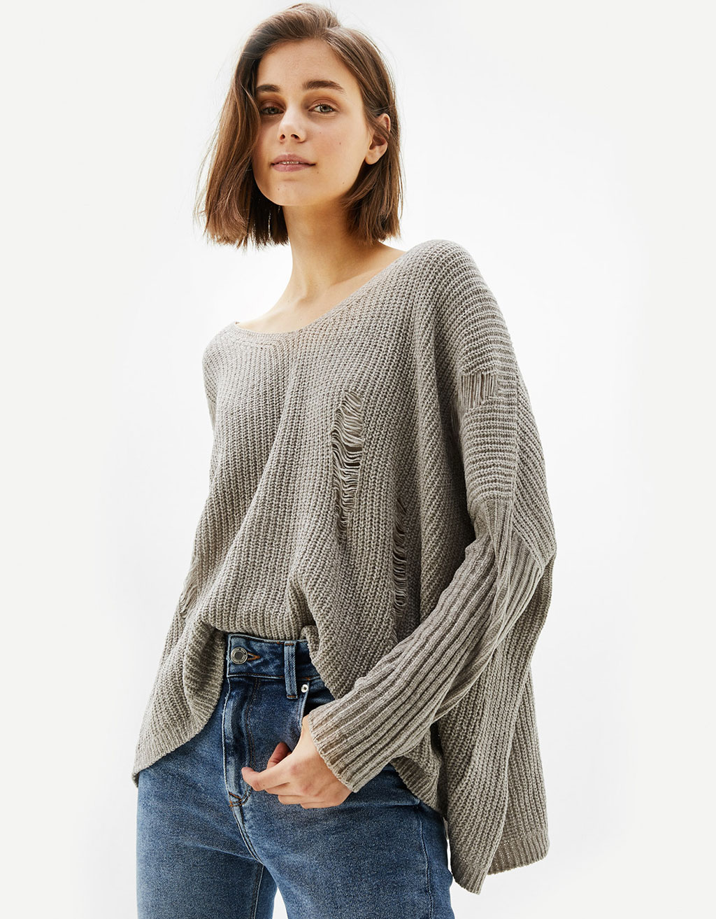 Chenille sweater with rips