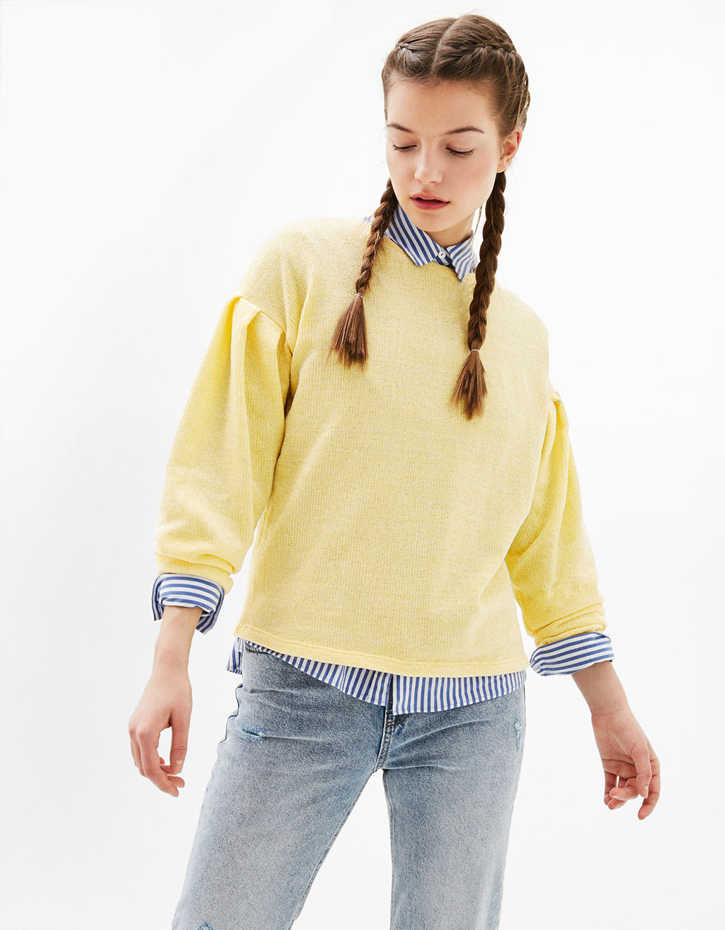 Chenille sweater with gathered sleeves