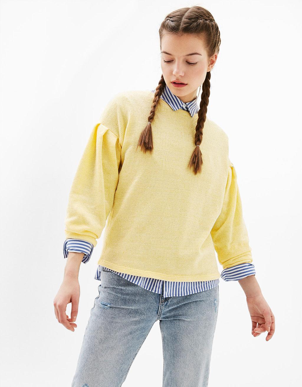 Chenille-Pullover mit gerafften Ärmeln