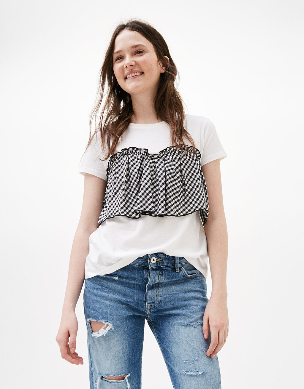 Gingham T-shirt with frill