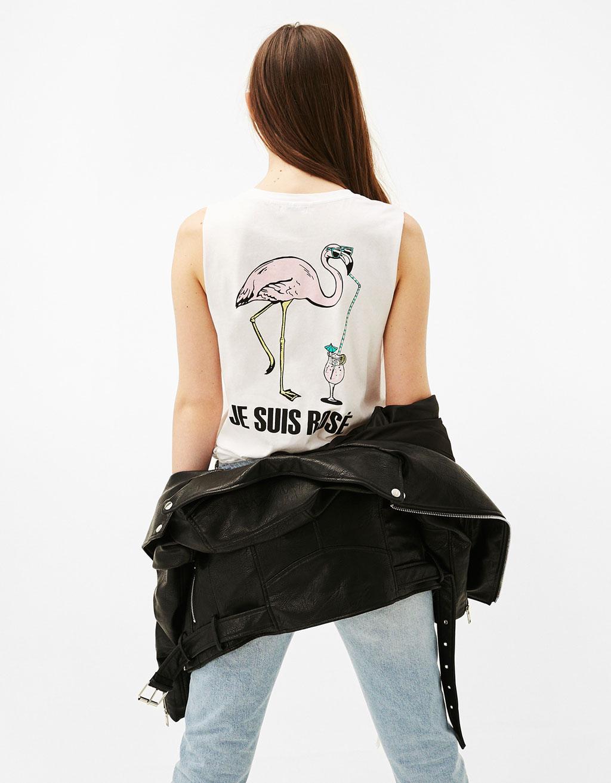 Ärmelloses Shirt mit Print Flamingo/Rosè
