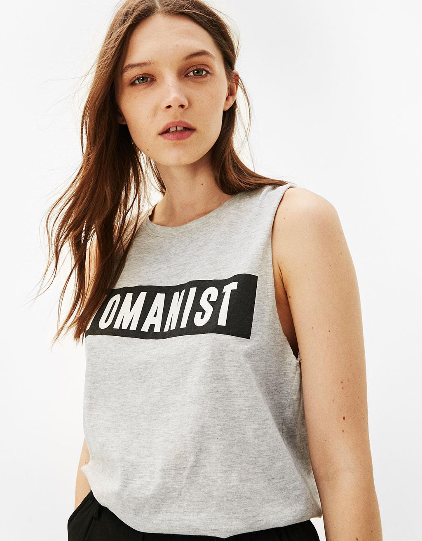 Mouwloos T-shirt 'Womanist/Boyfriend'