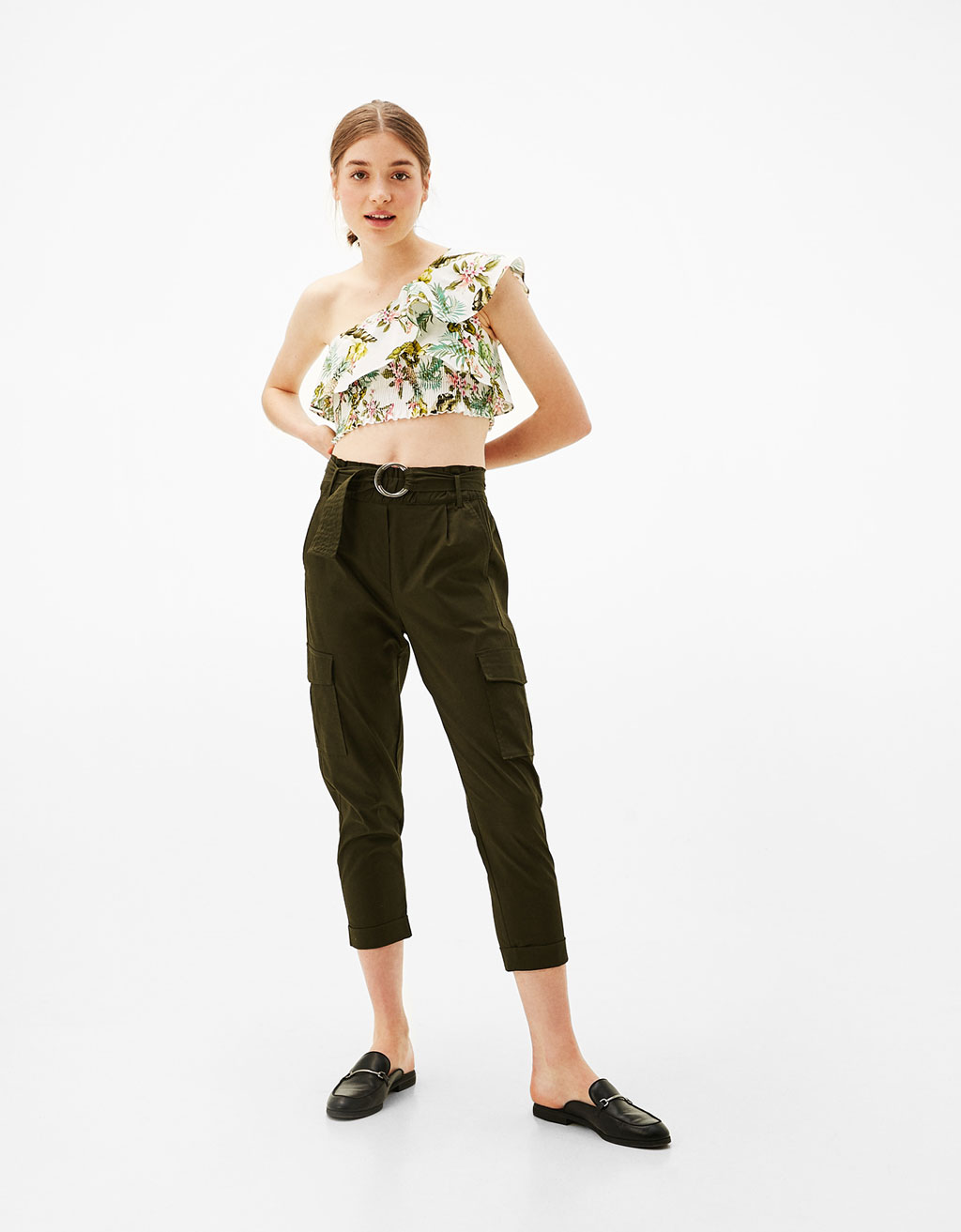 Asymmetric poplin T-shirt with floral print