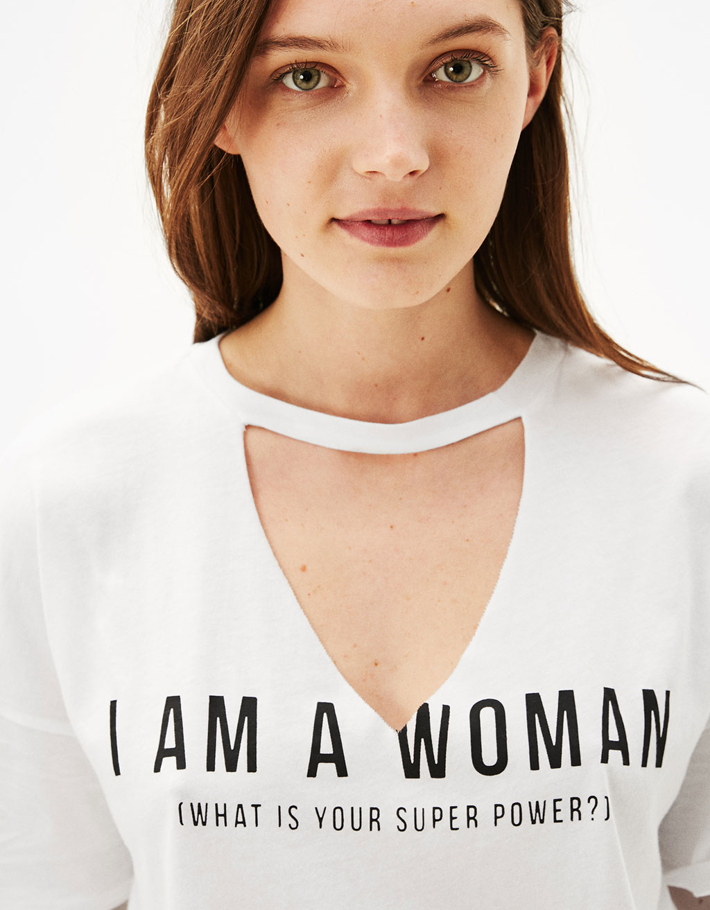 'I am a Woman' T-shirt with choker neck