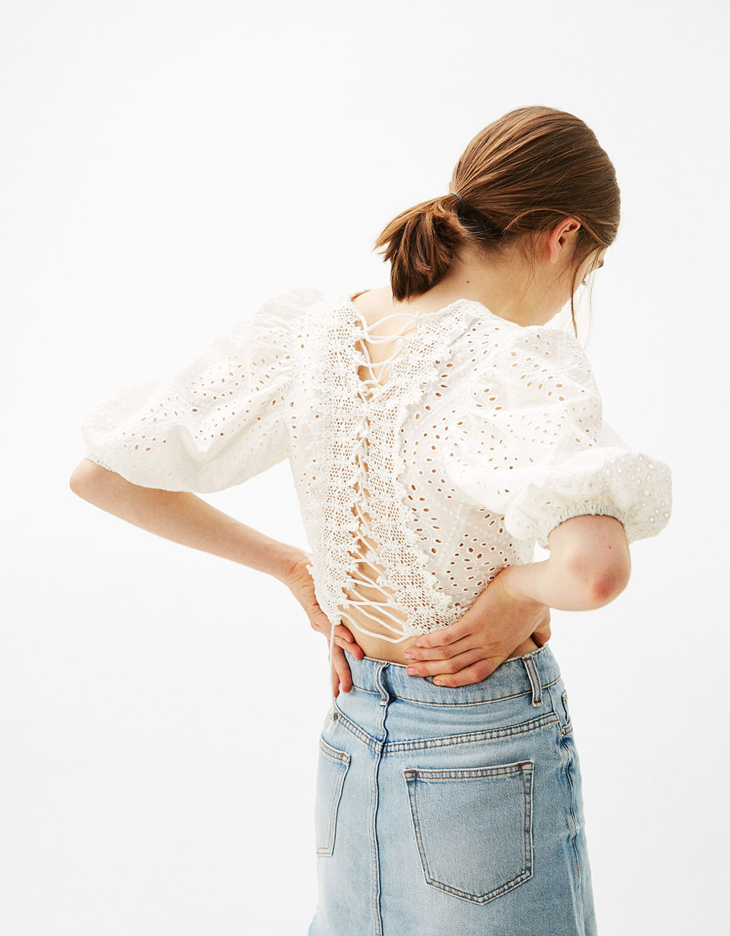 Cropped blouse with swiss embroidery