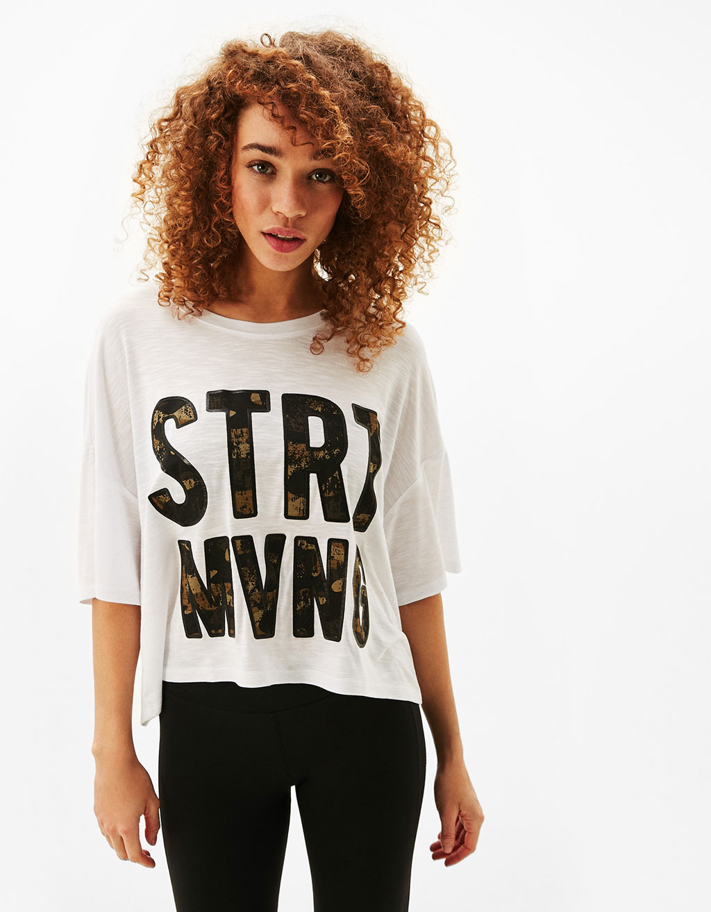 Cropped sports T-shirt with printed slogan