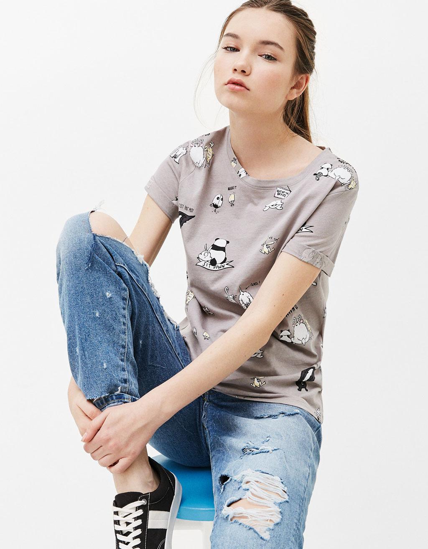 Katoenen T-shirt met print all-over