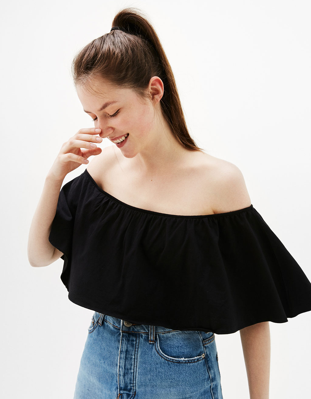 Cape-style T-shirt with bardot neckline