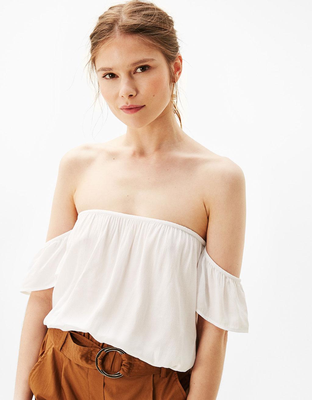 T-shirt with bardot neckline and stretch hem