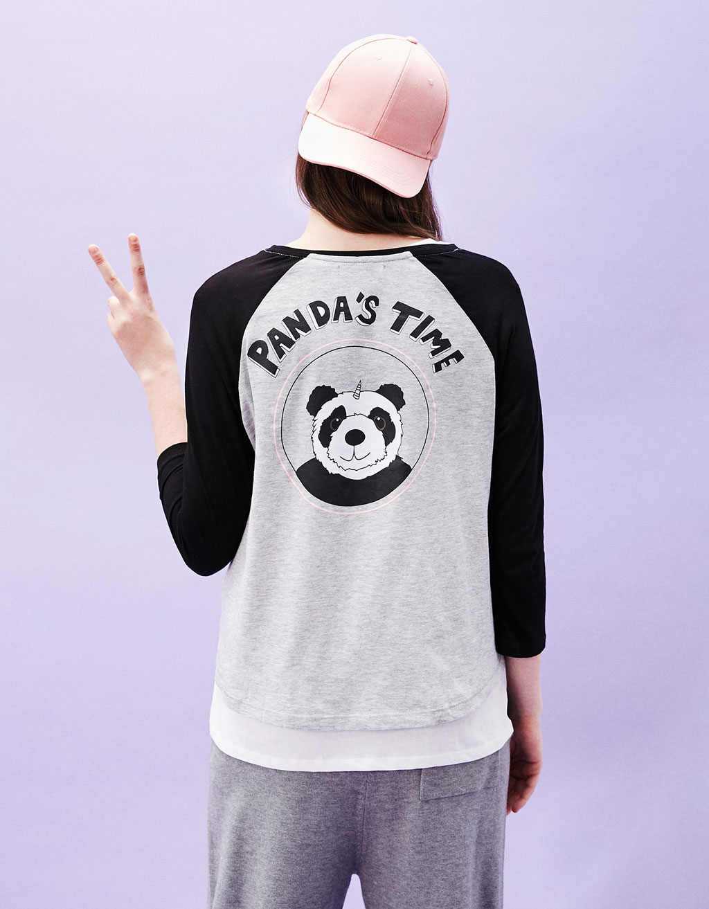Printed T-shirt with 3/4 length sleeves
