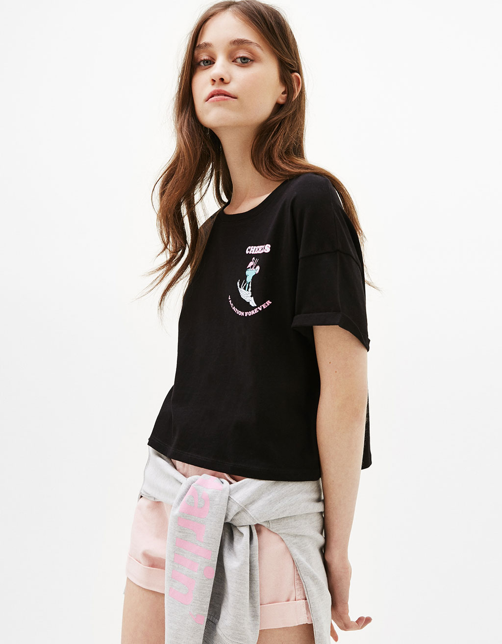 Cropped T-shirt with Cheers/Flamingo print