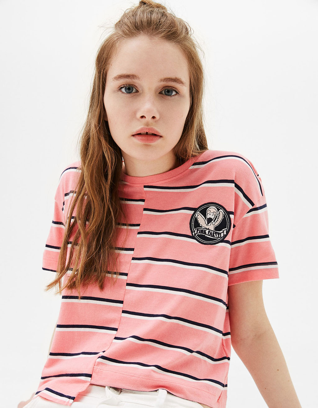 Asymmetric striped T-shirt with patch