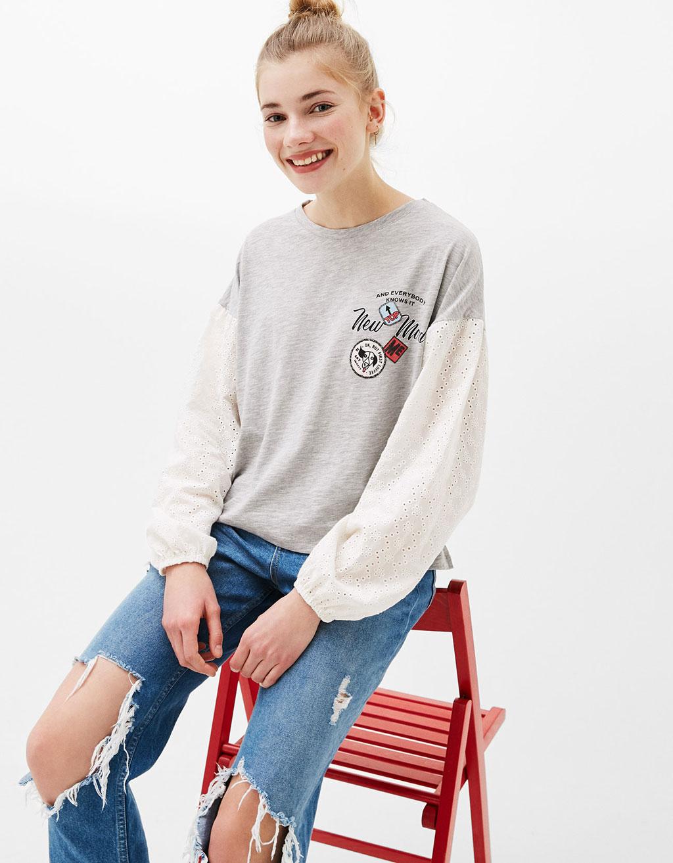 T-shirt met blousemouw