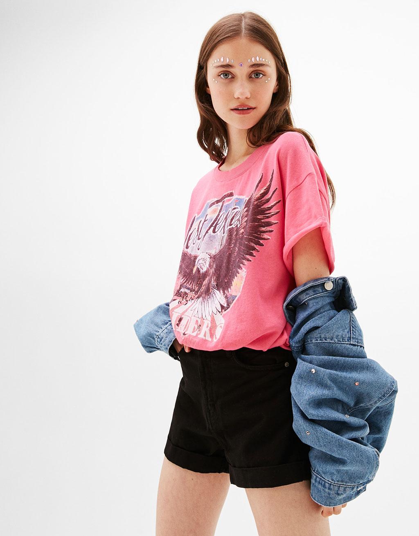 Cropped-Shirt mit Adlermotiv