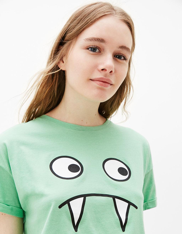 Camiseta estampada 'Monster/Pig Face'