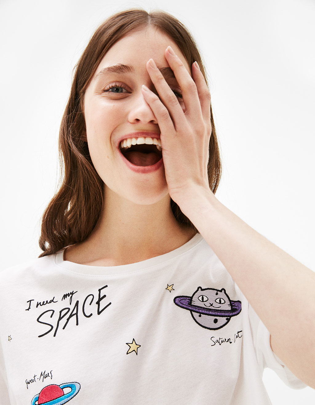 T-shirt with planet patches