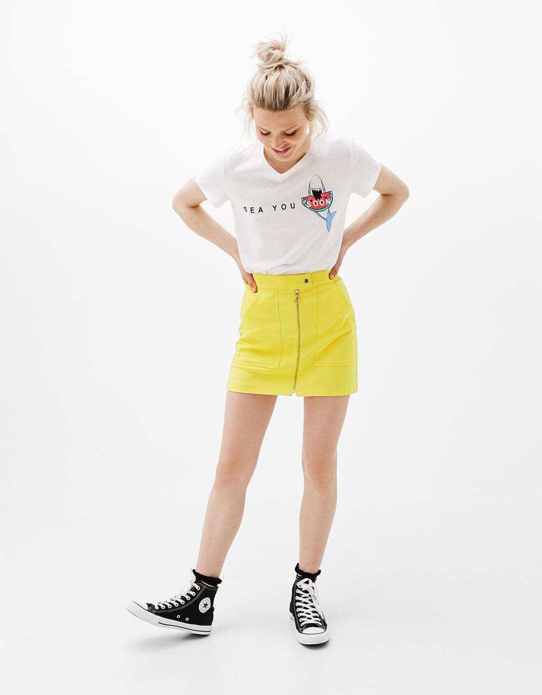 Camiseta estampado 'Shark/Pug'
