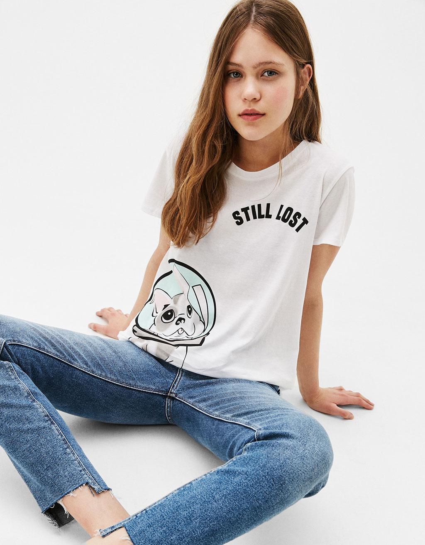 T-Shirt mit aufgedrucktem Hund »Belive/Lost«