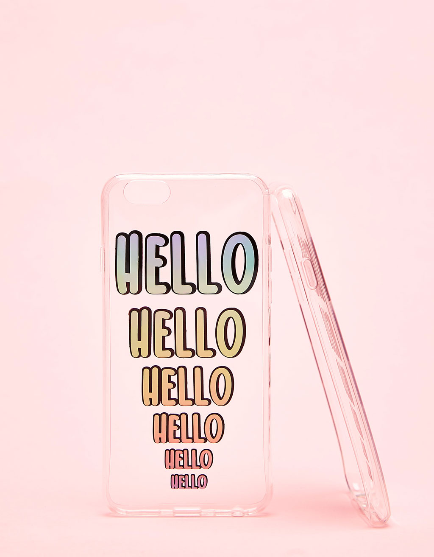 Iridescent Hello transparent iPhone 6/6s case