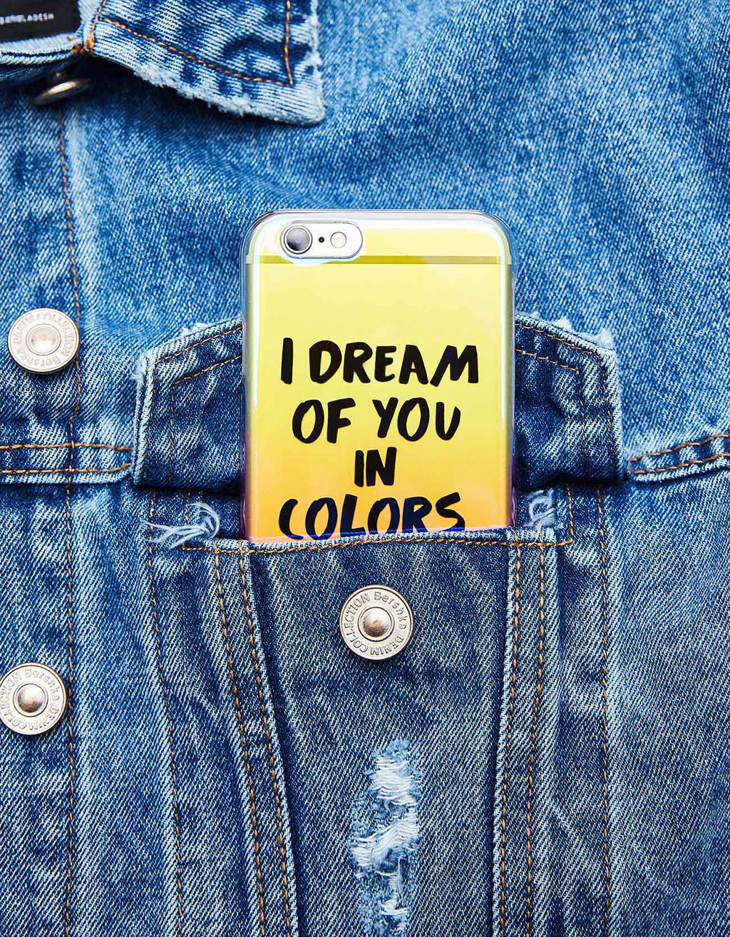 Transparent iridescent ombré iPhone 6/6s case with text