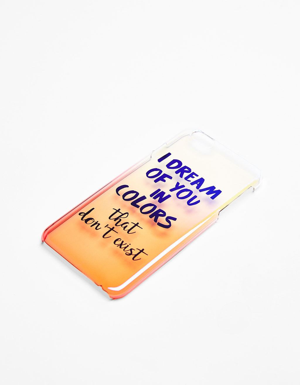 Transparent iridescent ombré iPhone 6 Plus case with text