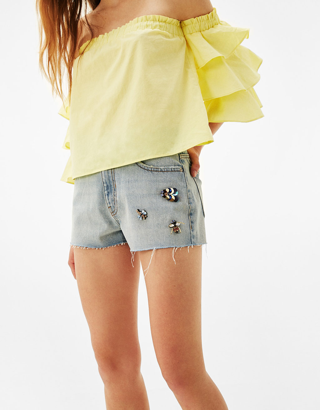 High waist denim shorts with insect jewels