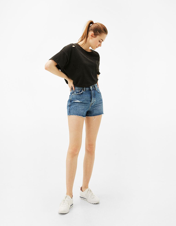 Mom-fit vintage stila džinsu šorti
