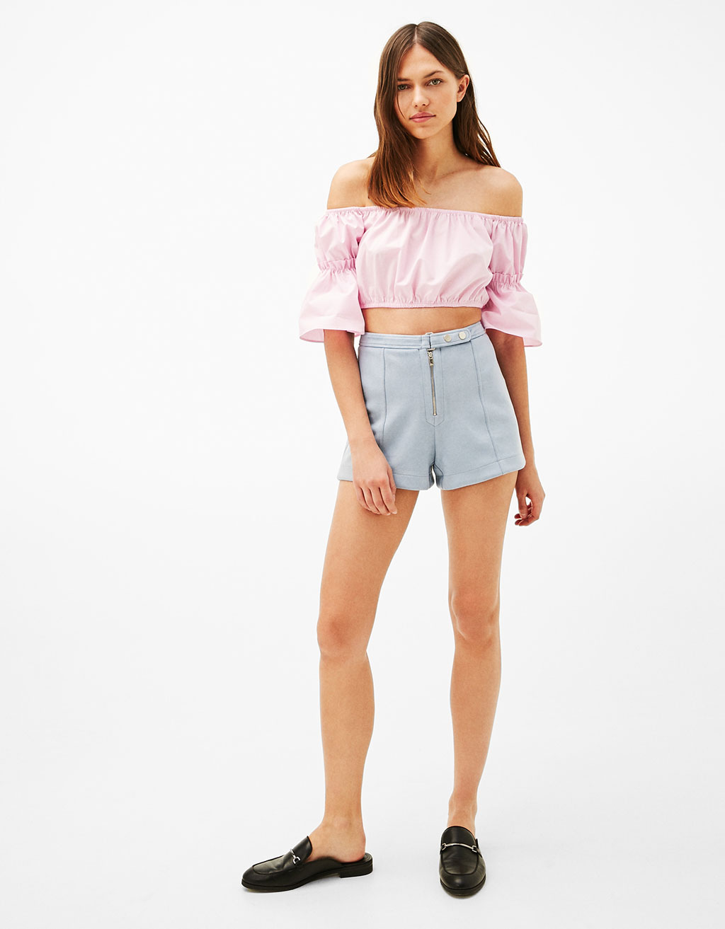 Faux suede shorts with buckle