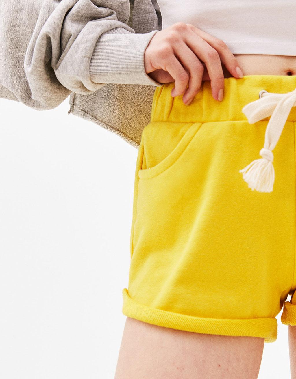 Plush shorts with turn-up hem