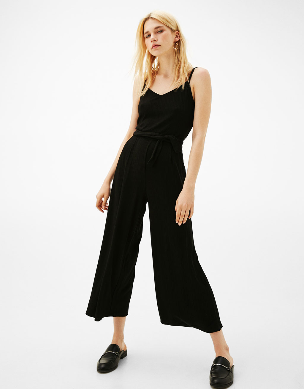 Long strappy jumpsuit with belt