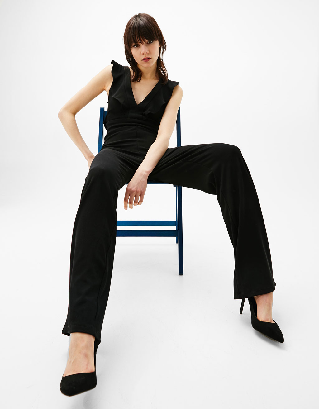 Long jumpsuit with frill