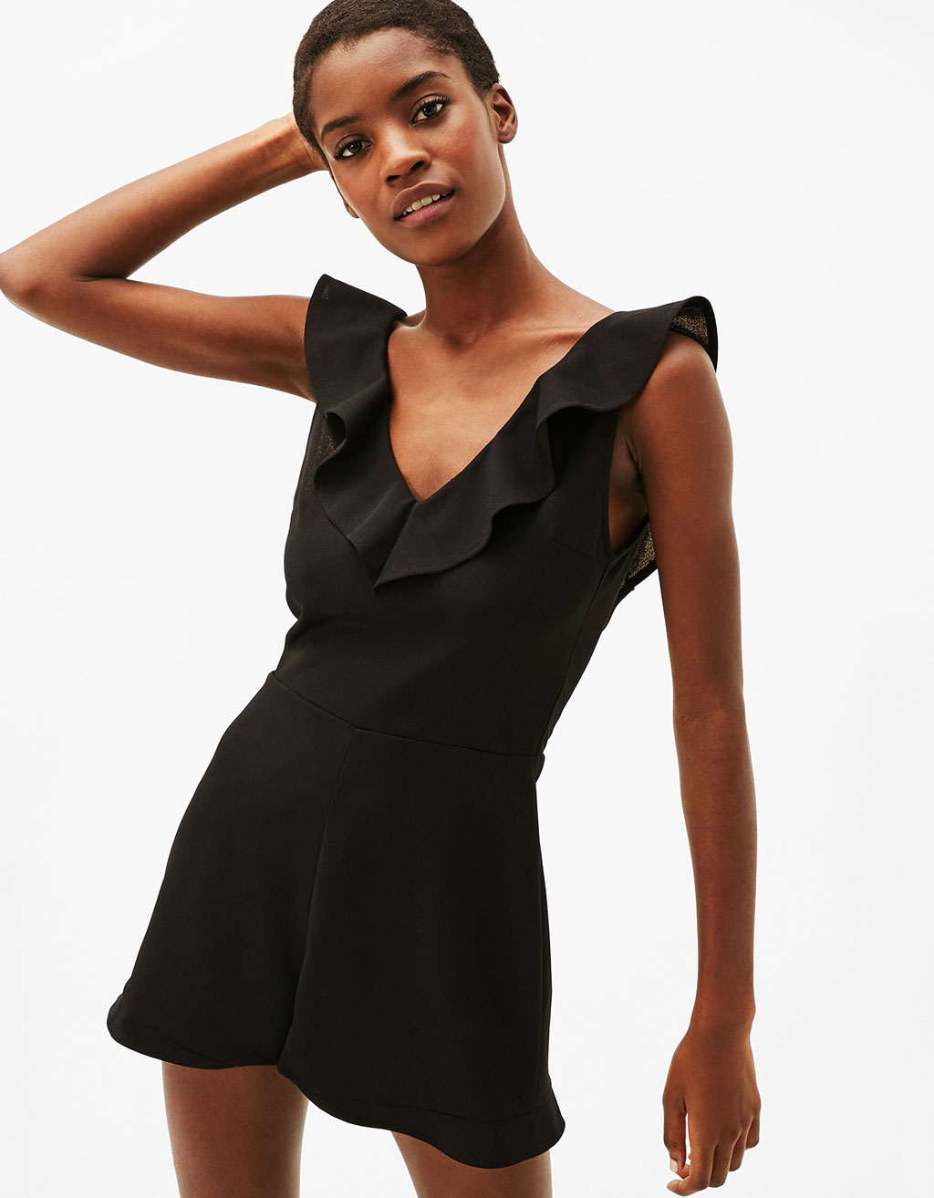 Neoprene jumpsuit with frilled neckline