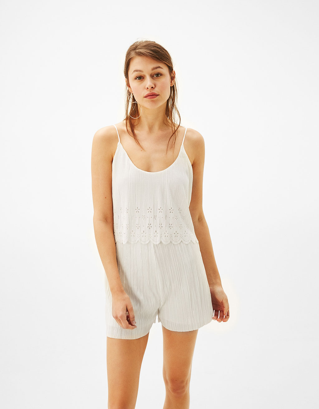 Short pleated jumpsuit with frill detail
