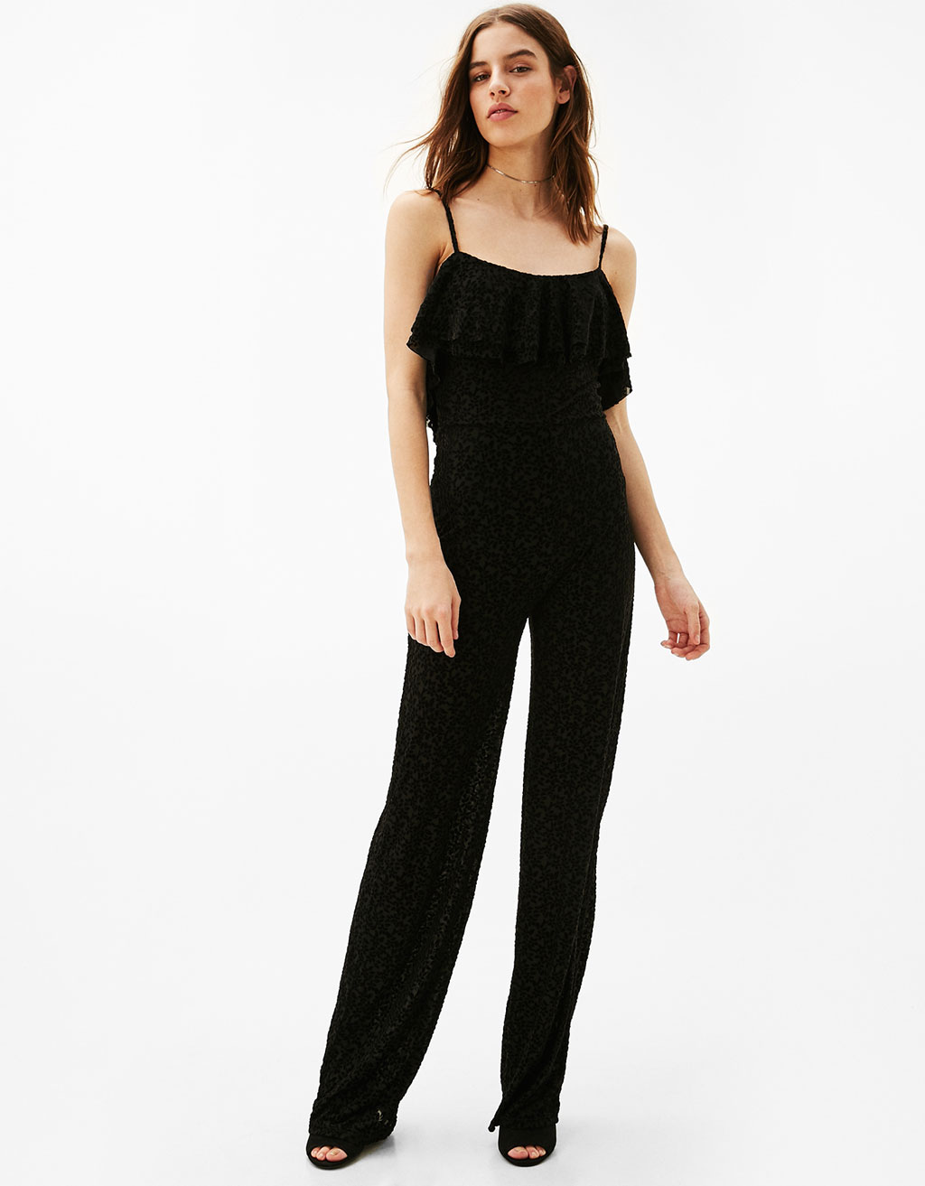 Devoré-effect floral jumpsuit with frill