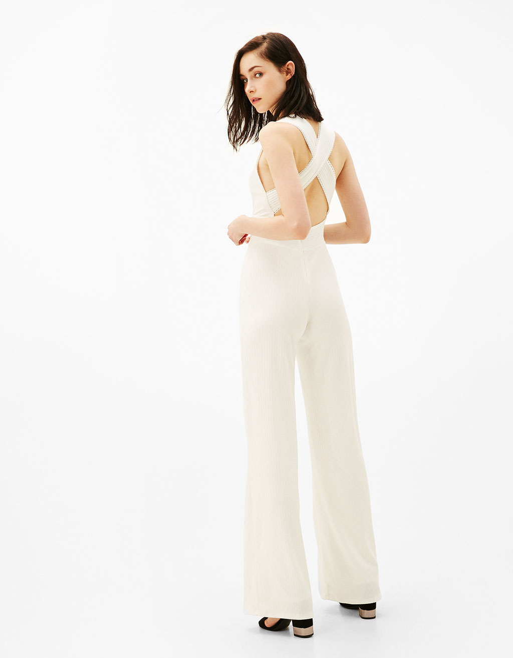 Long ribbed jumpsuit with crossed back