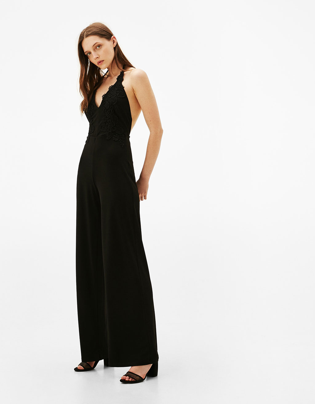 Long crepe jumpsuit with guipure lace neckline