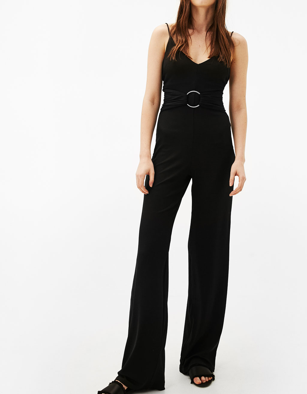 Long ribbed jumpsuit with belt