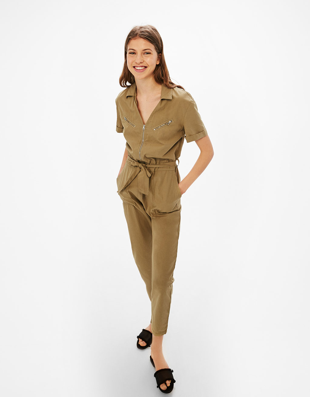 Utility jumpsuit with zips and belt