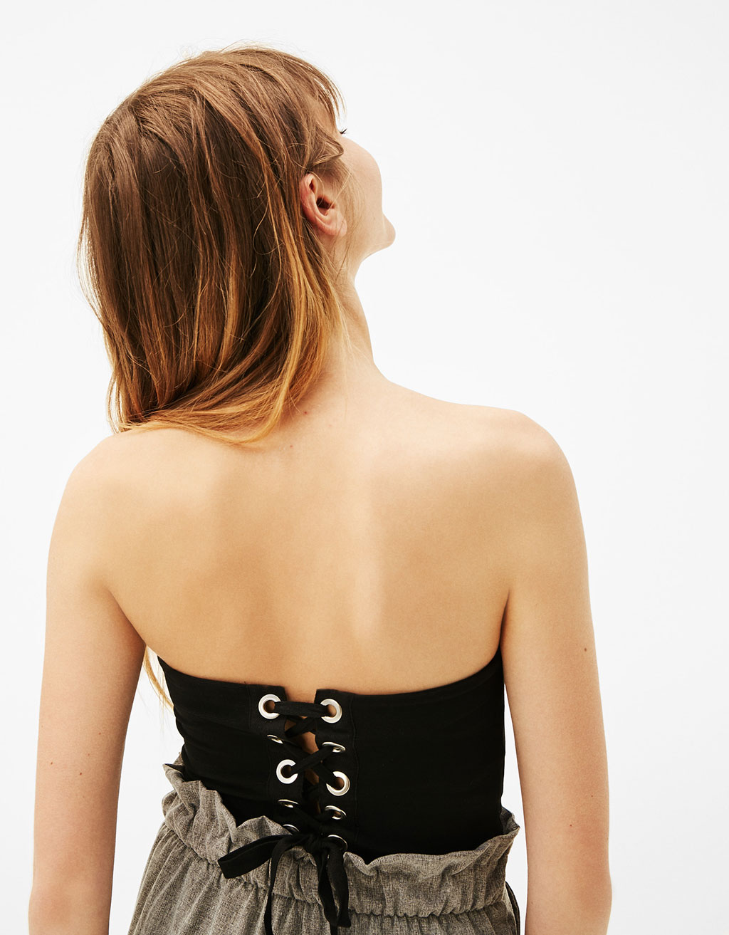 Bustier top with lace-up back