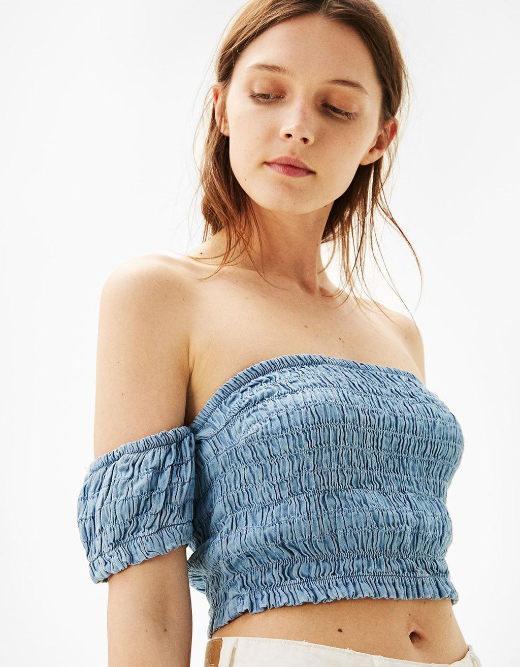 Denim top with shirred detailing