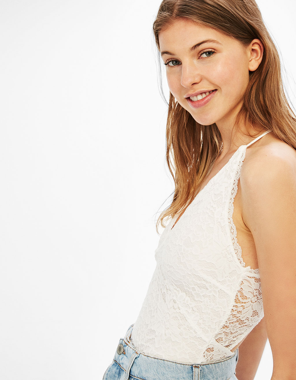 Lace bodysuit with thin straps