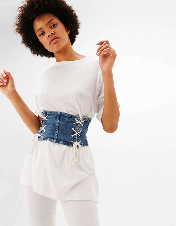 Denim lace-up corset