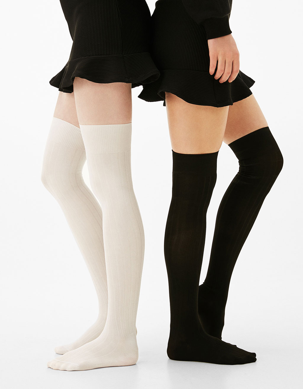Set of 2 high ribbed socks