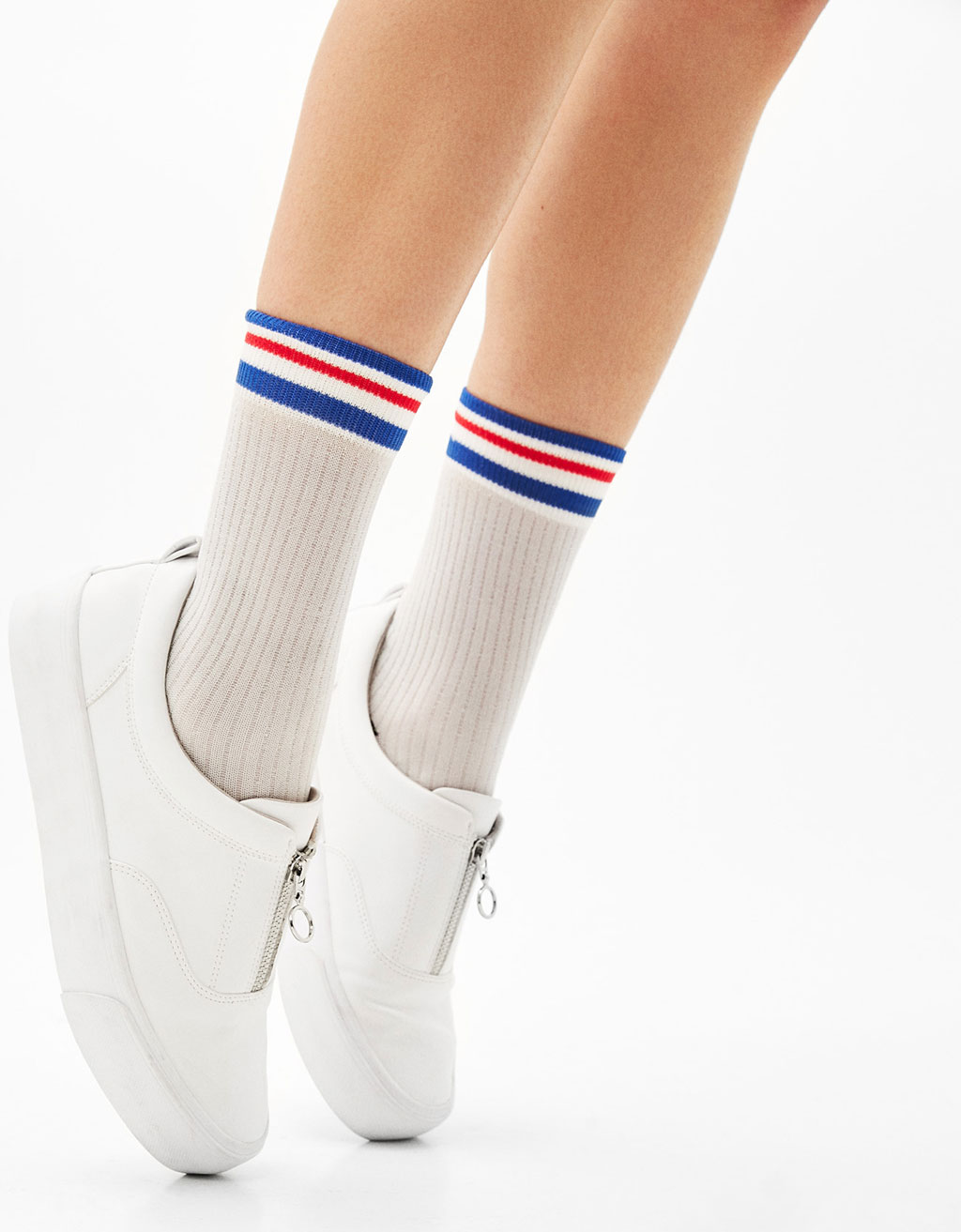 Striped metallic sports socks