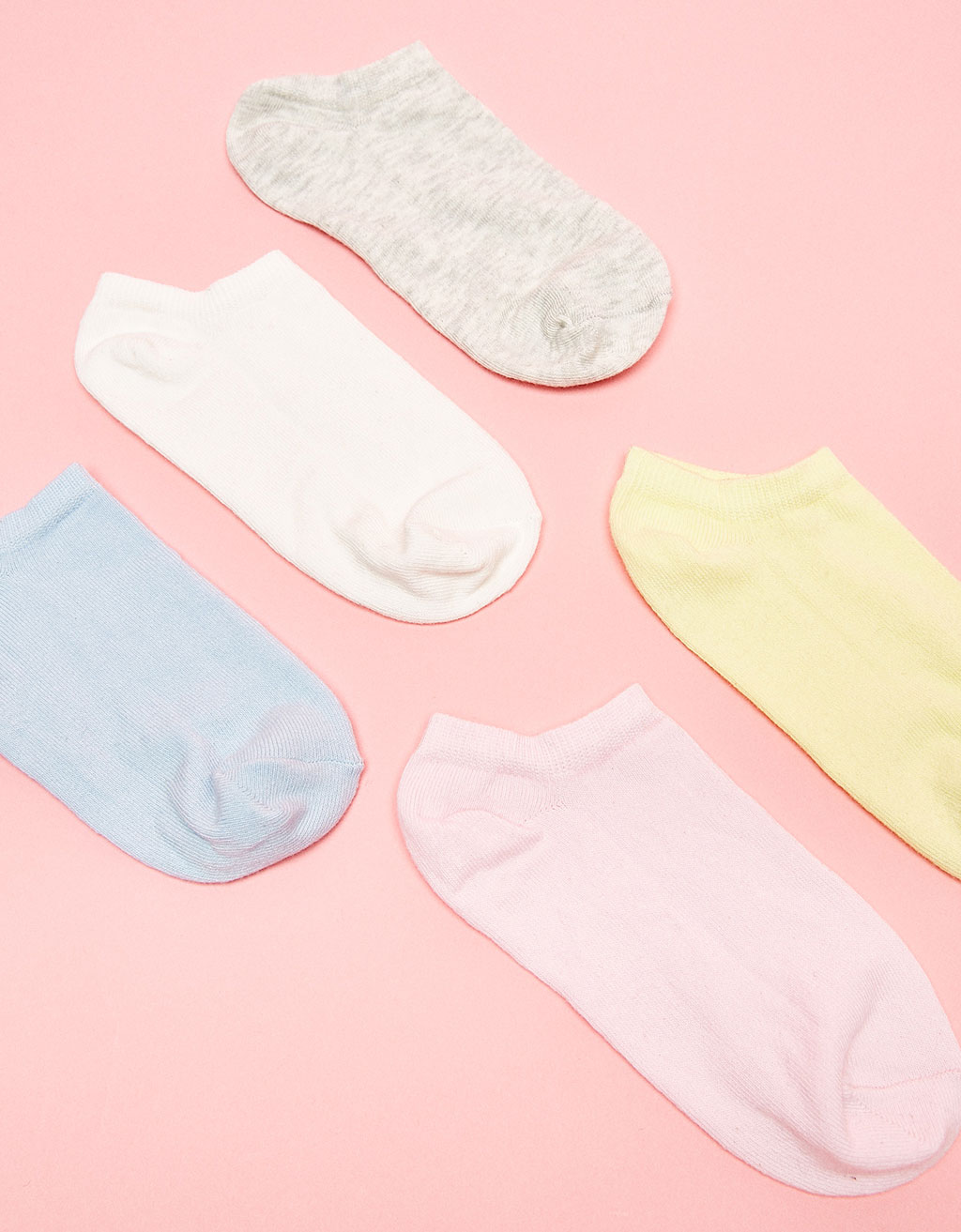 5-Pack of ankle socks. Pastel colours
