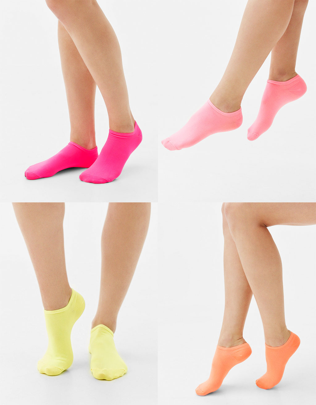 Set of 4 neon no show socks