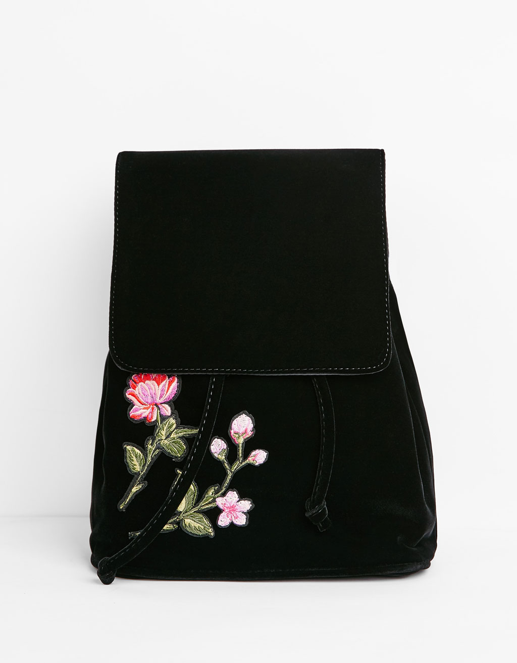 Velvet backpack with patches